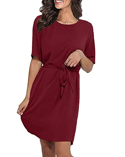 LilyCoco Damen Kleid Elegant Herbst Winter Sexy Kleider für Damen Mädchen Langarm Kurzarm Minikleid mit Gürtel...