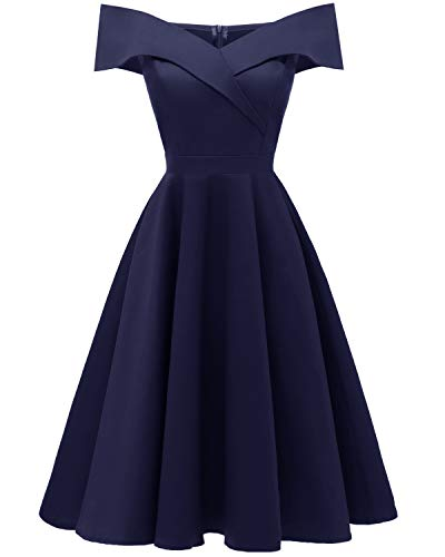 Viloree 50s Rockabilly Damen Kleid Baumwolle Schulterfrei Swing Party festlich Navy M