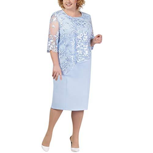 LOPILY Spitzenkleid Damen Große Größen Elegant Abendkleid für Mollige mit Blumendruck Zweilagig Cocktailkleider...