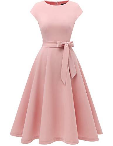 DRESSTELLS Damen Rosa Abendkleid Knielang Rundausschnitt 50er Jahre Retro Kleid Festliches Brautjungfernkleid Midilang...