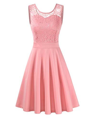 Clearlove Damen Kleider Elegant Spitzenkleid 3/4 Ärmel Cocktailkleid Rundhals Knielang Rockabilly Kleid(Verpackung...