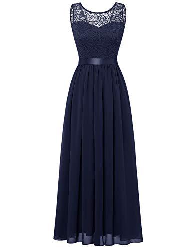 BeryLove Damen Abendkleid Elegant Cocktailkleid Lang Brautjunferkleid Chiffon Spitzen Kleid Hochzeit Party Marineblau...