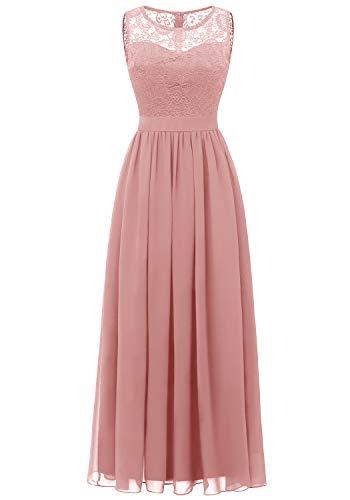 Dressystar 0046 Abendkleid Basic Chiffon Spitzen Ärmellos Brautjungfernkleider Bodenlang Blush S