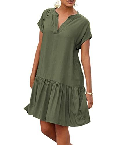 LilyCoco Sommerkleid Damen Knielang Leichte Sommerkleider Kleid für Damen Kleider Sommer V Ausschnitt Grün XL
