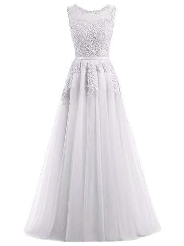 Romantic-Fashion Damen Ballkleid Abendkleid Brautkleid Lang Modell E010-E015 Blütenapplikationen Tüll DE Weiß Größe...