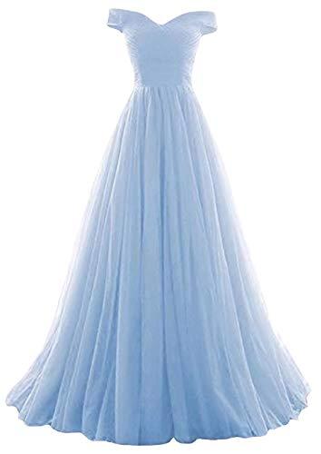 Romantic-Fashion Damen Ballkleid Abendkleid Brautkleid Lang Modell E270-E275 Rüschen Schnürung Tüll DE Hellblau...