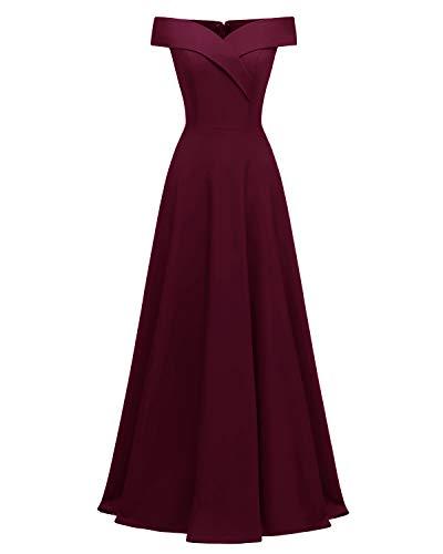 Viloree Damen Abendkleid Langes Kleid Brautjungfer Cocktail Ballkleid Schulterfrei Party festlich Burgundy S