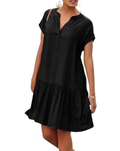 LilyCoco Sommerkleid Damen Knielang Leichte Sommerkleider Kleid für Damen Kleider Sommer V Ausschnitt Schwarz L