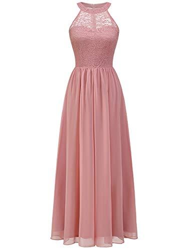 Wedtrend Damen Spitzenkleid Brautjungfer Kleid Lang Chiffon Abendkleid Party Cocktailkleid Neckholder Sommerkleid WT0201...