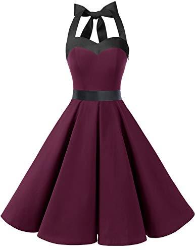 DRESSTELLS Damen Neckholder 1950er Vintage Retro Rockabilly Kleider Petticoat Faltenrock Cocktail Festliche Kleider...
