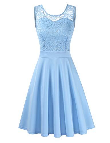Clearlove Damen Vintage Kleid Brautjungfernkleid Knielang Spitzenkleid Cocktailkleid,Ärmellos Hellblau,S
