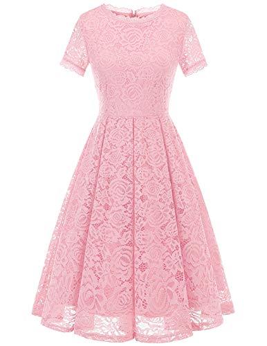 DRESSTELLS Damen Rosa Abendkleid Kurz Spitzen Jugendweihe Kleider Ballkleid Retro Cocktailkleid Pink M