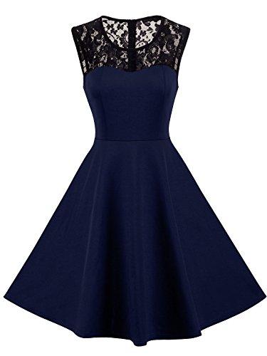 HOMEYEE Damen Elegant Spitze Rundhalsausschnitt Ärmel Mesh-A-Linie Kleid UKA008 (EU 36 (Herstellergroesse: S),...