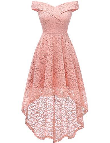HomRain Damen Kleider Elegant Spitzenkleid Cocktailkleid Knielang Rockabilly Kleid Abendkleider Blush S