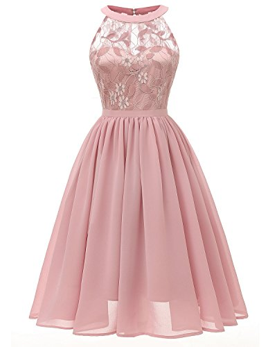 Viloree Damen Neckholder Floral Spitze Brautjungfern Partykleid Ärmellos Cocktail Kleid Rosa S