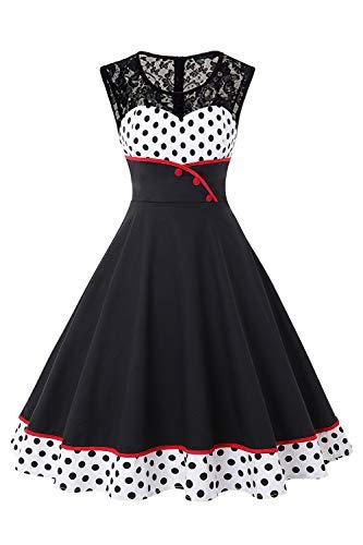 MisShow Damen Elegant 1950er Rockabilly Kleid Spitzenkleider Polka Dots Retro Vintage Petticoat Kleider Faltenrock,...