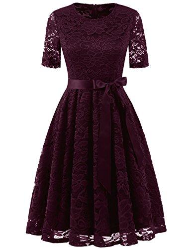 DRESSTELLS Damen elegant Spitzenkleid Kurzarm Rundausschnitt Abendkleid kurz Brautjungfernkleid Weinrots Kleid Burgundy...