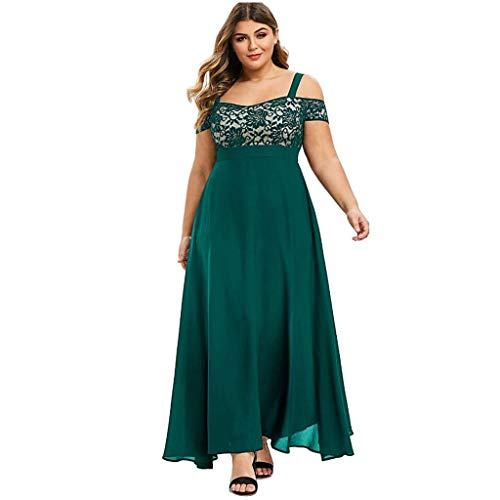 LOPILY Abendkleid Damen Große Größen Off Shoulder Spitzenkleid Bodenlang Volant Maxikleid Schulterfrei Elegant...