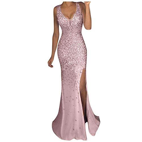 Qigxihkh Damen Pailletten Prom Party Ballkleid Sexy Gold Abend Brautjungfer V-Ausschnitt Langes Kleid(Rosa, M)