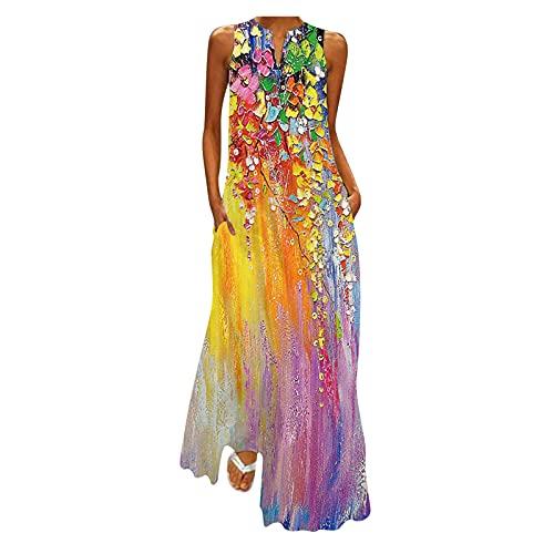 LOPILY Damen Kleider Schmetterling Druckkleid Hippie Lange Tunika Kleid Große Größen Bunte Abendkleider Elegant...