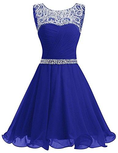 La_mia Braut Damen Royal Blau Chiffon Pailletten Kurzes Jugendweihe Kleider Abendkleider Partykleider Festlichkleider-44...
