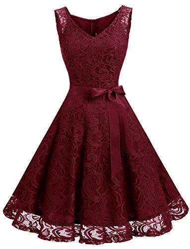 Dressystar DS0010 Brautjungfernkleid Ohne Arm Kleid Aus Spitzen Spitzenkleid Knielang Festliches Cocktailkleid Weinrot M