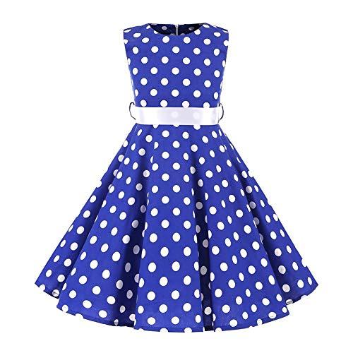 Kinder Mädchen 1950er Vintage Rockabilly Kleid Gepunktet Abendkleid Geburtstag Partykleider A-Linie Blumen Retro...