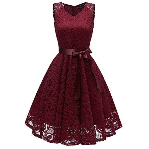 Damen Vintage Prinzessin Blumen Spitzekleid,TWIFER Cocktail V-Ausschnitt Party A-line Swing Kleid Abendkleider...