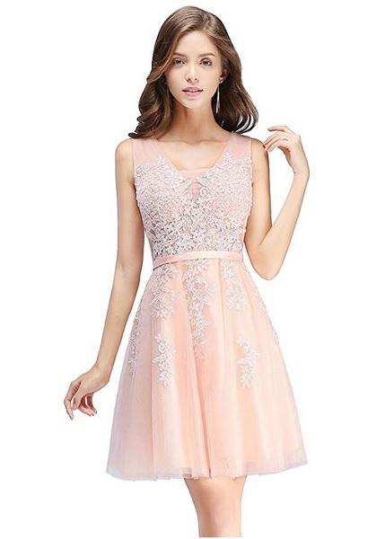 Jugendweihe Kleid Abschlussballkleid Abiballkleid kurz rosa Spitze