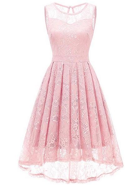 Jugendweihe Kleid rosa Spitze lang
